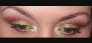 Apply pink and green eyeshadow