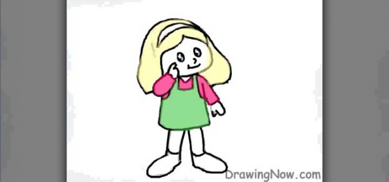 How To Draw A Cartoon Figure Of A Little Girl Drawing