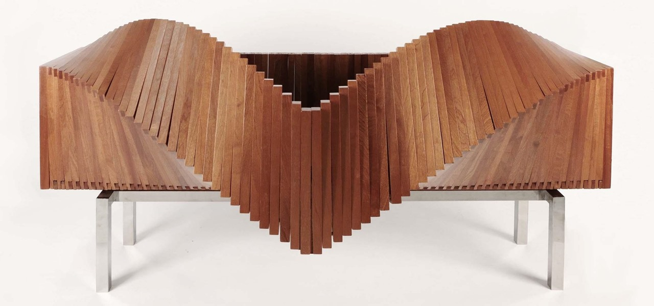 Beau News: The Slatted, Morphing U0027Waveu0027 Cabinet Opens Up Like A Paper Fan