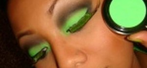 Create a neon green makeup look