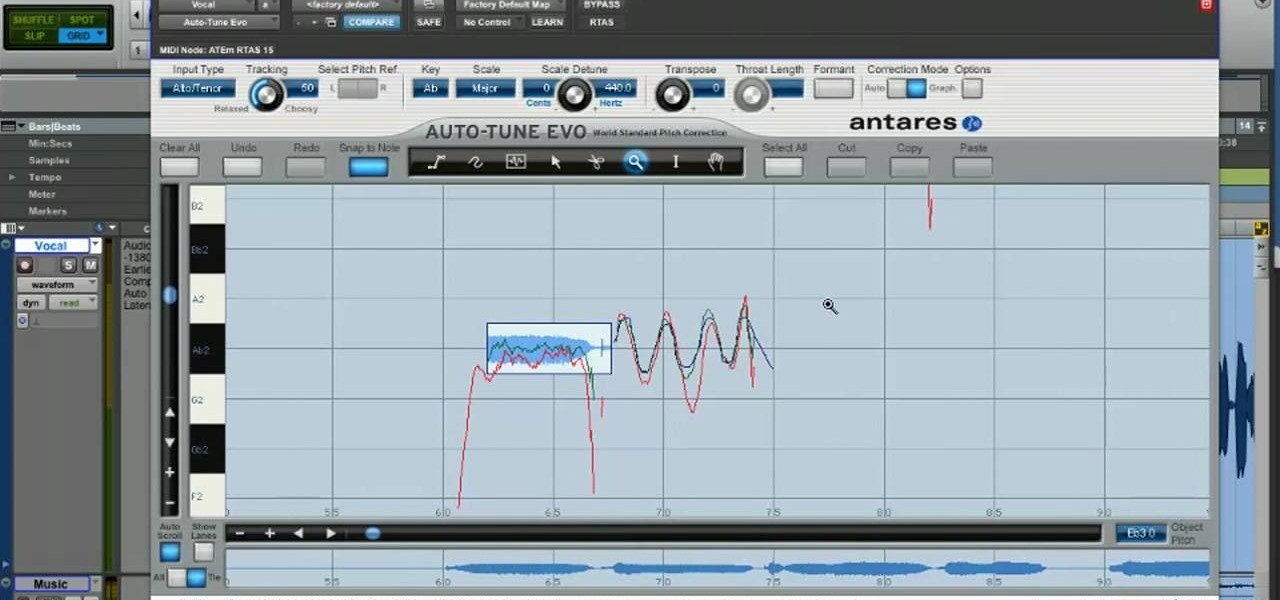 how to use antares auto-tune evo in graphical mode in pro tools 8 ...