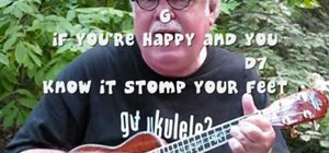 "Play ""If You're Happy and You Know It"" on the ukulele"