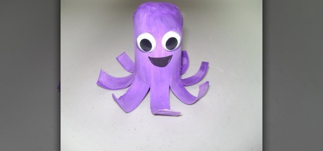 How to make an easy toilet paper roll octupus kids for Toilet roll puppets