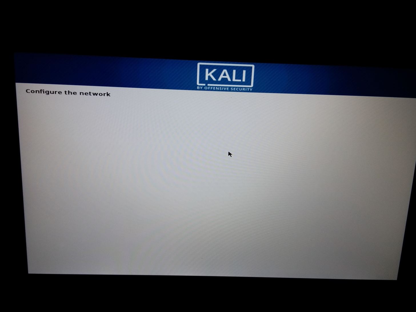 Installing Kali Stuck at Configure the Network