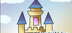 Draw and color in a simple castle for kids