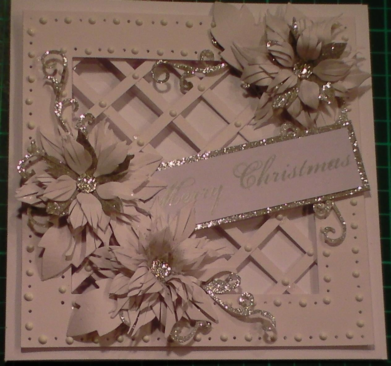 How to Make: Christmas Sparkly Poinsettia Lattice Card