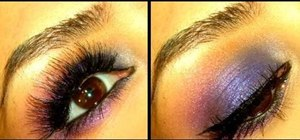 Design a violet and cobalt smokey eye