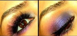 Design a violet and cobalt smokey eye