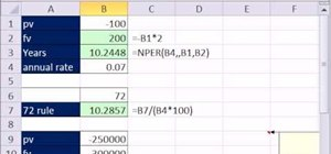 Calculate how long it will take an investment to double in Microsoft Excel