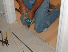 How To Install A T Mold Transition Between Laminate Ceramic Tile
