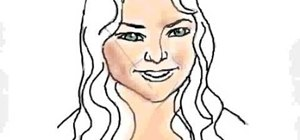 Draw a female face with hair