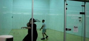 Perform a backhand stroke in racquetball