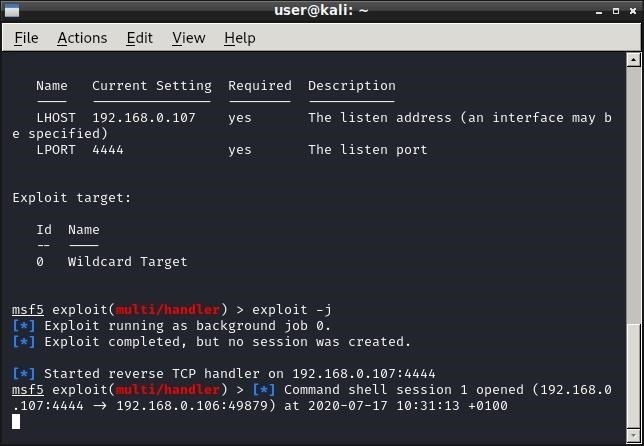 Metasploit is stuck after sessions is open. Meterpreter doesn't show up