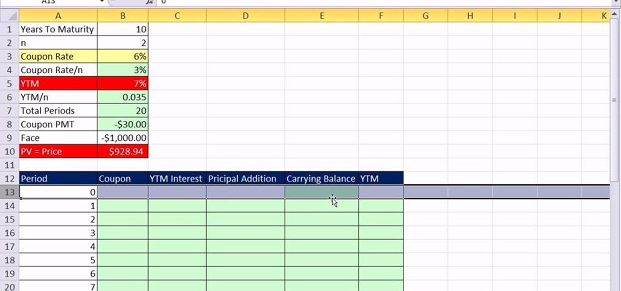 How to create a bond discount or premium amortization for Excel table design
