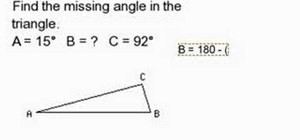 Find a missing angle inside of a triangle