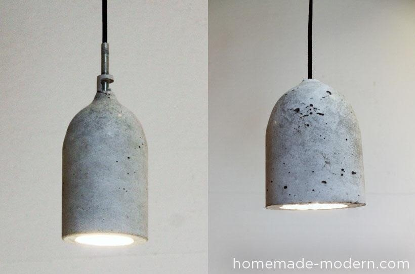 Old Plastic Soda Bottle + Concrete Mix = Sweet DIY Hanging Pendant Lamp