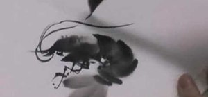Paint shrimp with sumi-e ink
