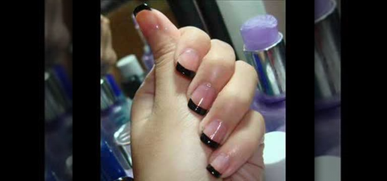 How to Apply a french tip manicure with black nail polish « Nails ...