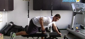 Do tricep extension exercises with a dumbbell