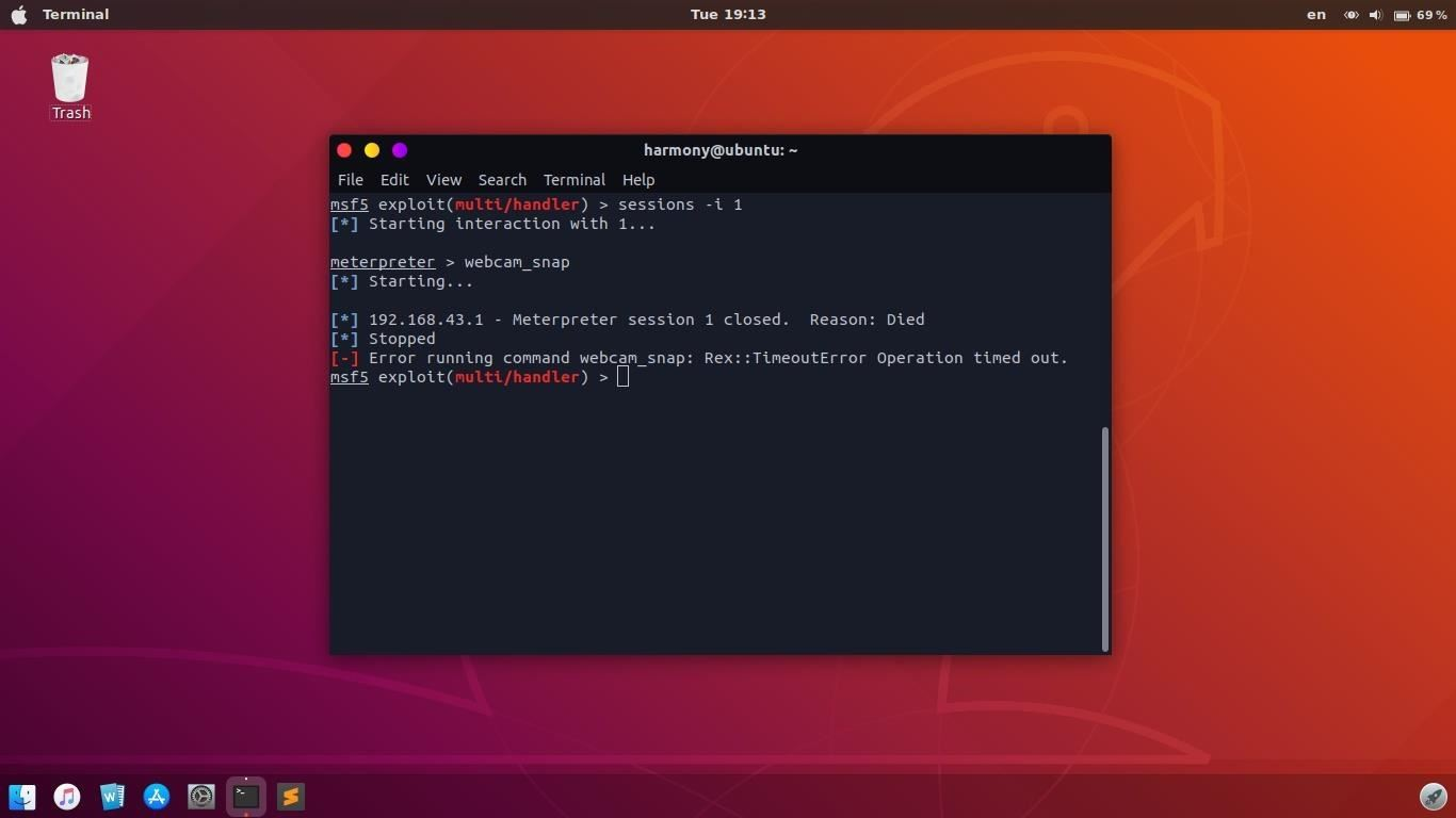 Embed Metasploit Payload Not Work with webcam_snap
