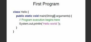 "Write a simple ""Hello, World"" application in the Java programming language"