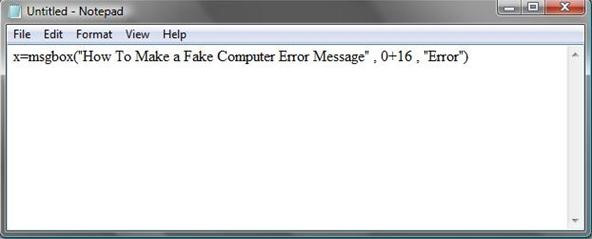 How to Make A Fake Computer Error Message