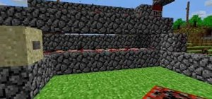 Build a basic cannon out of stone, water and redstone in Minecraft