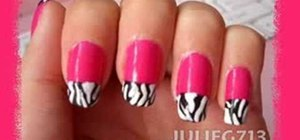 Paint Victoria Beckham's pink nails with zebra tips