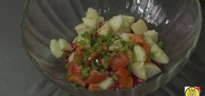 Make an Indian potato and pomegranate salad