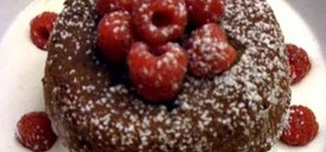 Make a delicious chocolate lava cake with strawberries