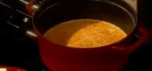 Make creamy cheddar soup with Paula Deen
