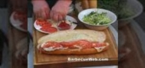 Prepare a  classic sub sandwich on the barbecue