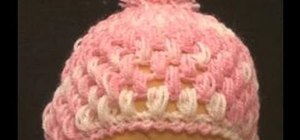 Crochet a cute little baby puff stitch hat
