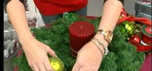 Craft a Christmas wreath candle holder centerpiece