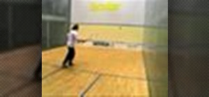 Hit a fronthand cross-court shot in squash