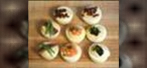 Make deviled eggs canapés