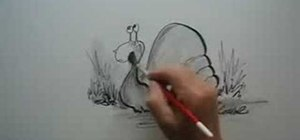 Draw a cartoon snail