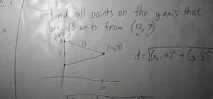 Find points on y-axis a certain distance from a point