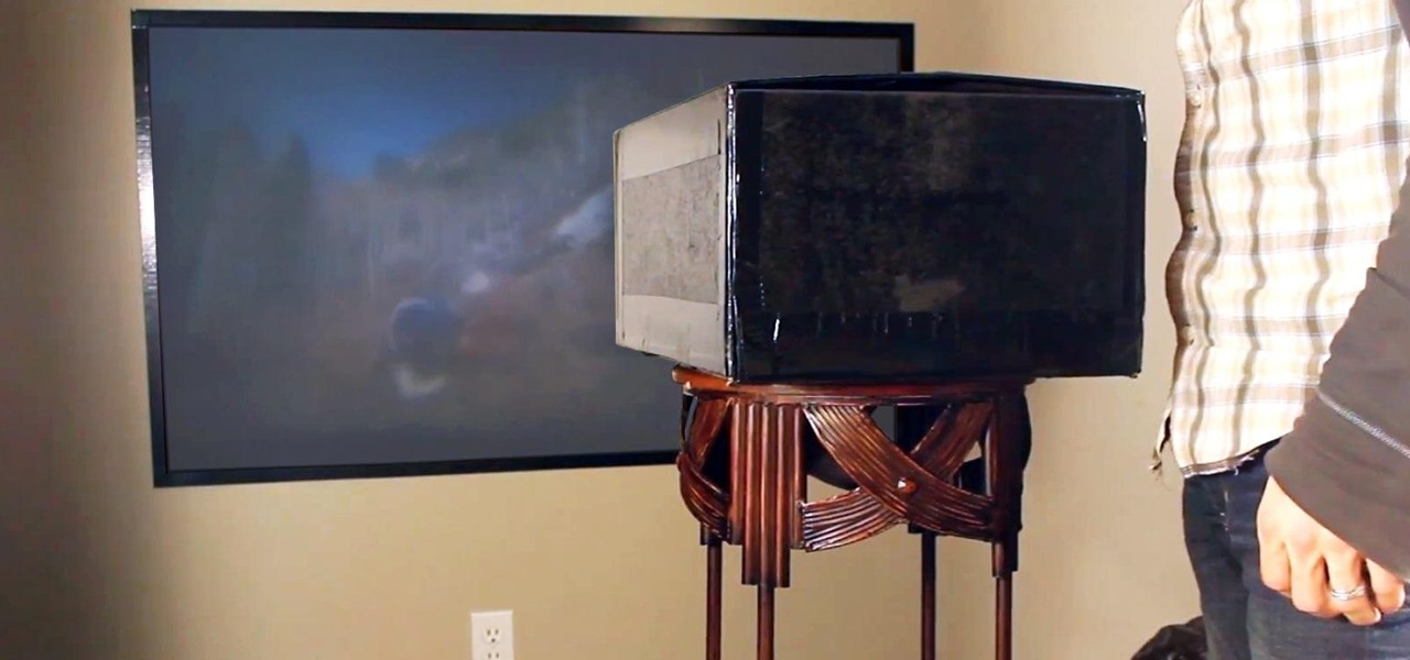 "Make a DIY Home Theater Projector and 50"" Screen for Only $5 (Great for March Madness!)"