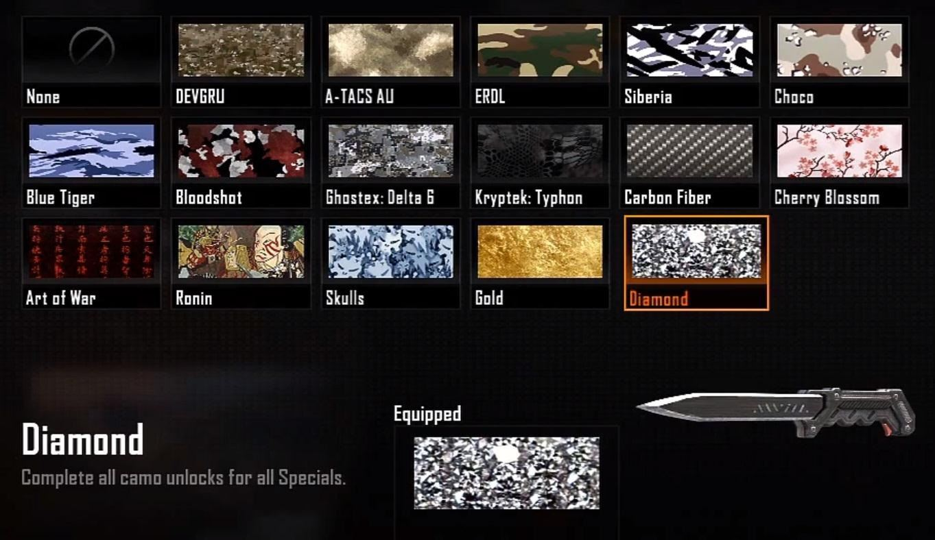 How to Unlock All of the Secret Diamond Camouflage in Call of Duty: Black Ops 2