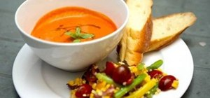 Make a summer Spanish gazpacho soup and salad