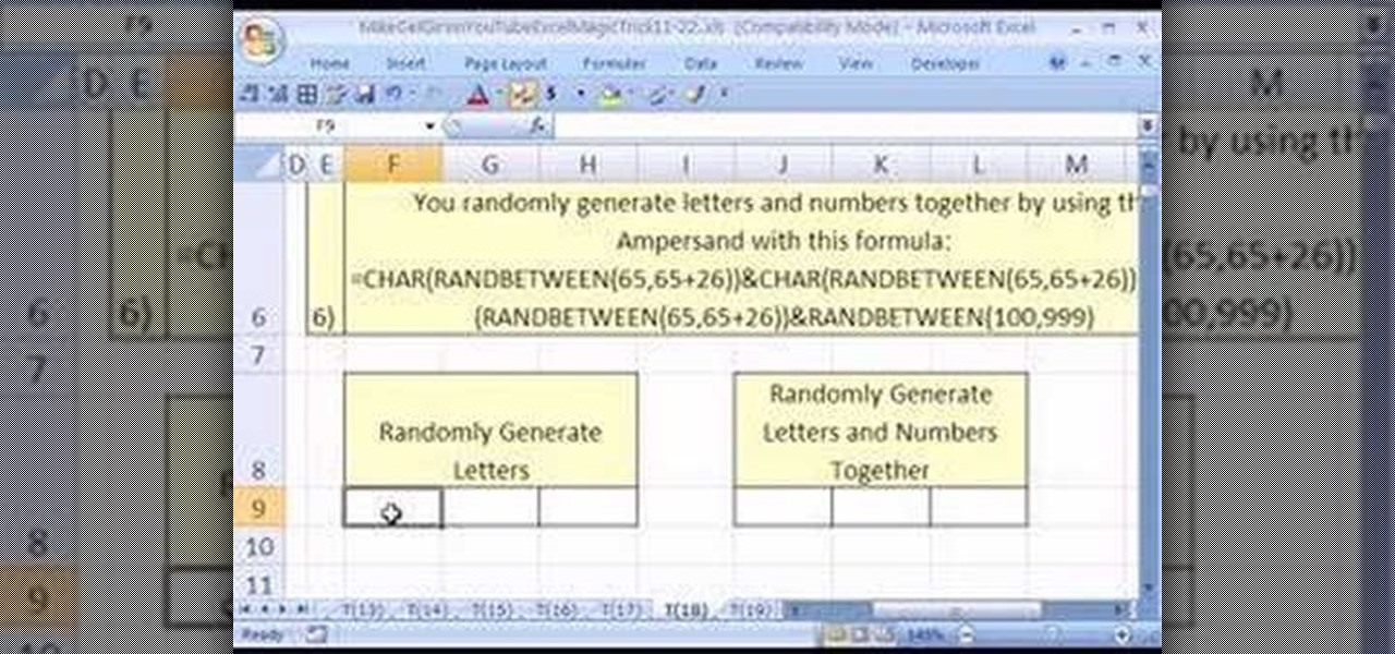 how to make a random name generator in excel