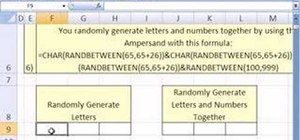 Randomly generate letters in an Excel spreadsheet