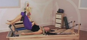 Do a bridging exercise routine with a Pilates Reformer