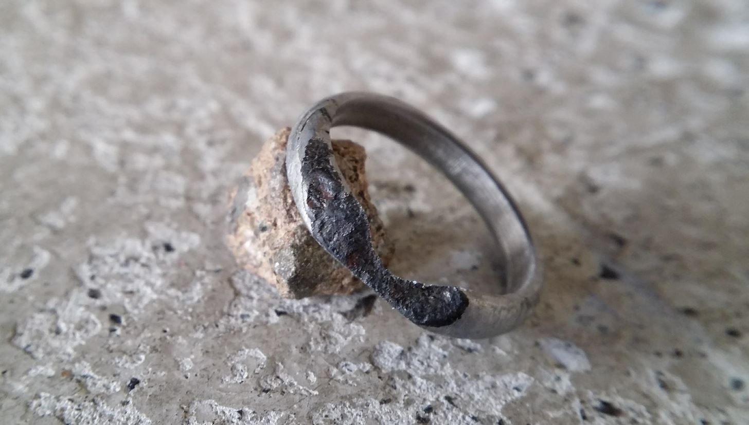 daring carves thrifty engagement ring out of meteorite