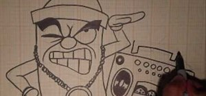 Draw an animated spray can toting a boom box
