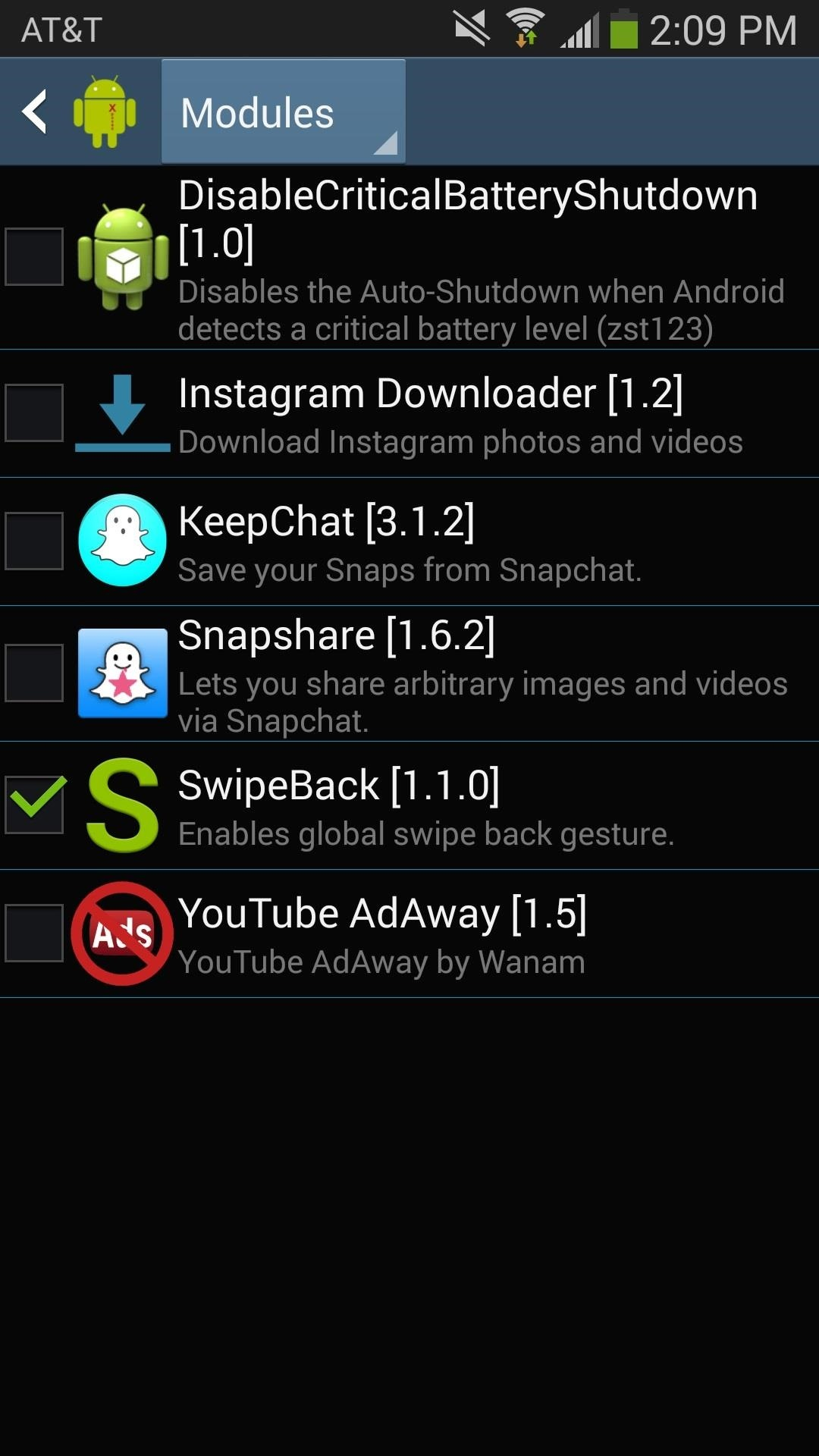 enable app swipe