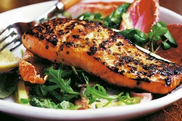 Sweet Chili Salmon On A Bed Of Greens Image Via Good To Know