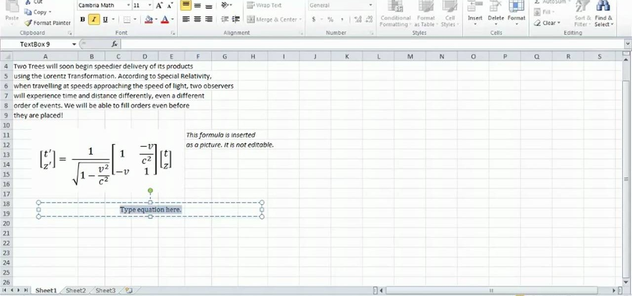 How to Work with math equations in Microsoft Excel 2010 ...